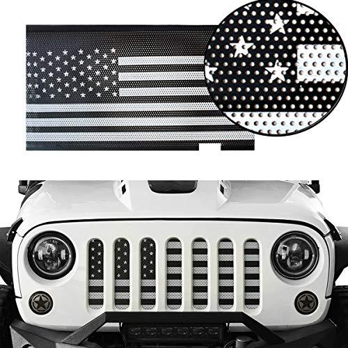 L&U Griglia Anteriore Inserto grigliato Schermo griglia USA Bandiera deflettore per 2018 2019 Jeep Wrangler JL JLU,BlackandWhite