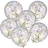 Jovitec 12 Piezas de Globos con Confeti 12 Pulgadas de Globos de Látex con Confeti Rosa Morado Verde Dorado para Decoración de Boda Fiesta de Cumpleaños Unicornio Sirena