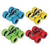 YuWei Smart Kids Pull-Back Friction Toy Cars, Doble Cara para Empujar Y Caminar, Acrobacias Giratorias, VehíCulos Todoterreno, Juguetes para NiñOs Y NiñAs De 3 A 8 AñOs, Regalo (Paquete De 4)