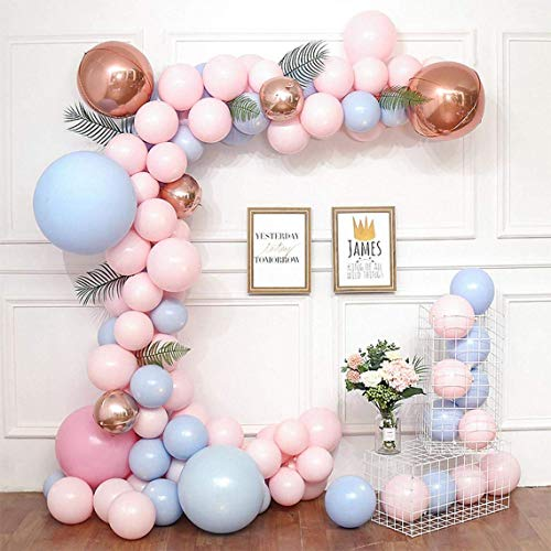 Gender Reveal Balloons Arch Kit,Aivatoba Pastel Pink Balloon Blue Latex Balloons Garland with 4D Aluminum Rosegold Balloons,16ft Tape Strip & Dot Glue for Girls Birthday Decorations Baby Shower