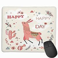 マウス パッド かわいいゲーミングマウスパッド、デスクマウスパッド、ラップトップコンピューター用の小型マウスパッド、素敵な花とサボテンのベクターでマウスマットハッピーラマカード