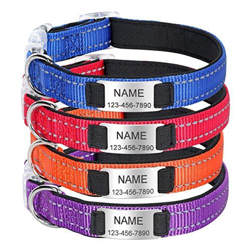 Mogokoyo Personalisiertes Halsband mit Namen und Telefonnummer für Hund, Reflektierende Langlebig Hundehalsband Nylonband Welpenhalsband für Hunde Haustier (S, Orange)