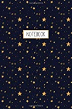 Notebook: Starry Night Sky Golden Yellow Stars Blue Pattern, Wide Ruled 110 pages (6.14