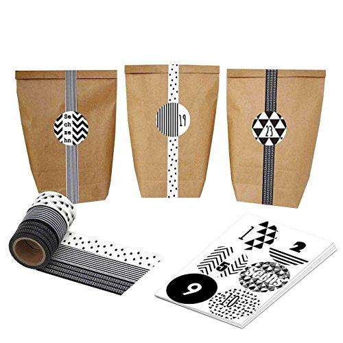 Papieren drachen Adventskalender set - zakken en Washi - Parent Bruine zakken - zwart-wit