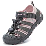 Weestep Boys and Girls Closed Toe Quick Dry Beach Hiking Sandal Pink/Grey