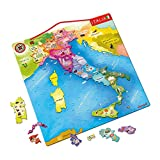 Janod - J05488 - Puzle de madera de 20 piezas magnéticas con diseño de mapa de Italia, 36 x 36 cm, juguete educativo para niños a partir de 7 años