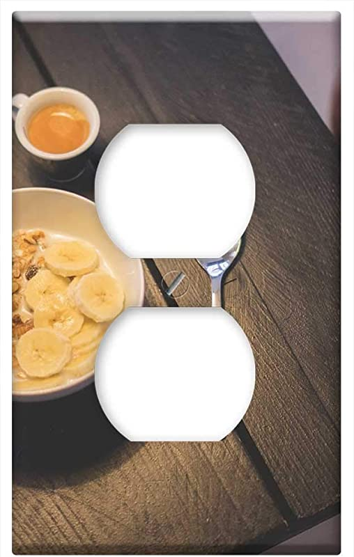 Switch Plate Outlet Cover Meal Morning Breakfast Banana Yoghurt Watch Food