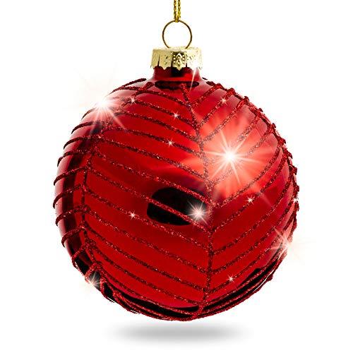 Sikora Highlights 4er Set ausgefallene Christbaumkugeln aus Glas Rot, Größe:8 cm, Farbe/Modell:Modell New York rot