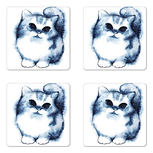 Ambesonne Navy Blue Coaster Set of 4, Kitty Paint with Distressed Color Features Fluffy Cat Best Companion Ever, Square Hardboard Gloss Coasters for Drinks, Grey White