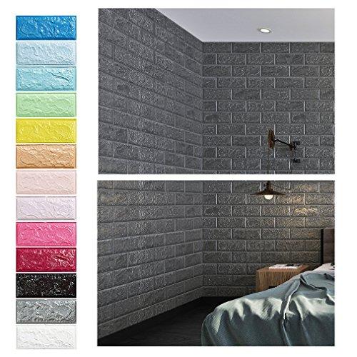 Grau 3D Ziegel Tapete, Wandpaneele Stereo Wandtattoo Papier Abnehmbare selbstklebend Tapete für Schlafzimmer Wohnzimmer moderne Hintergrund TV-Decor (70 x 77cm)/pcs x 5pcs