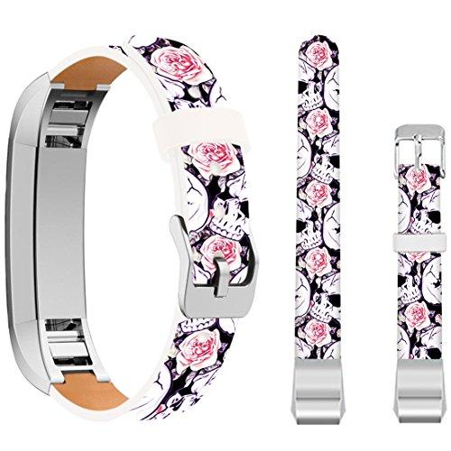 for Fitbit Alta HR Small Bands Skulls,Ecute Leather Replacement Bands Strap for Fitbit Alta/for Fitbit ALTA HR Watch - White Skulls and Rose
