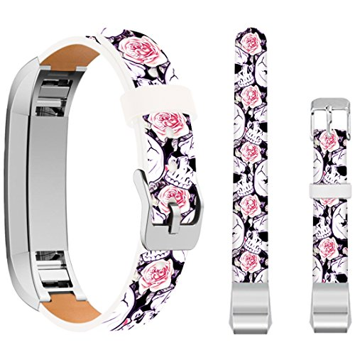 for Fitbit Alta HR Small Bands Skulls,Ecute Leather Replacement Bands Strap for Fitbit Alta/for Fitbit ALTA HR Watch - White Skulls and Rose