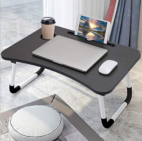 Widousy Laptop Desk, Laptop Bed Tray, Foldable Laptop Stand, Small Dormitory Table, Breakfast Serving Bed Tray, Dorm Desk, Notebook Table with Tablet Slots and Cup Holder, Perfect for Watching Movie