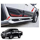 Powerwarauto Side Molding Body Cladding Black Red 4Pc Trim For Mitsubishi L200 Triton 4 Doors Double Cab 2015 2016 2017 2018