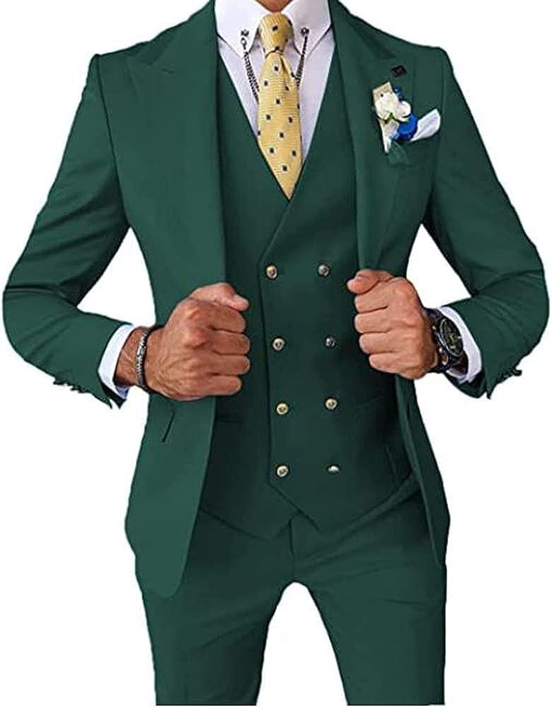 Men's 3 Piece Slim Fit Business Suit Peak Lapel Double Breasted Vest Wedding Groomsmen Tuxedos