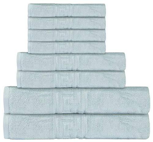 Casa de Oro - Juego de toallas de 8 piezas, 2 toallas de baño, 2 toallas de mano, 4 paños de baño, 600 g/m², 100% algodón egipcio hilado en anillo, altamente absorbente (huevo de pato)