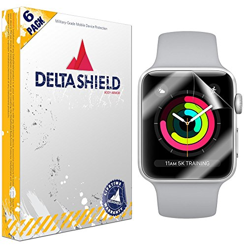 DeltaShield Screen Protector Compatible with Apple Watch (42mm Series 3/2/1 Compatible) [6-Pack]...