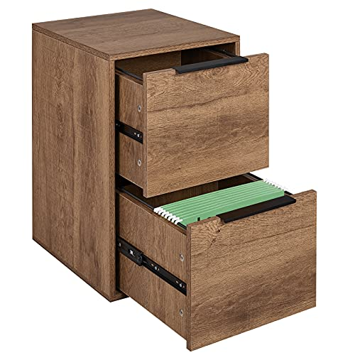 GREATMEET 2 Drawer Wood File Cabinet for Home Office,Wooden Filing Cabinet with Hanging Bars for Letter Size Brown 15.17