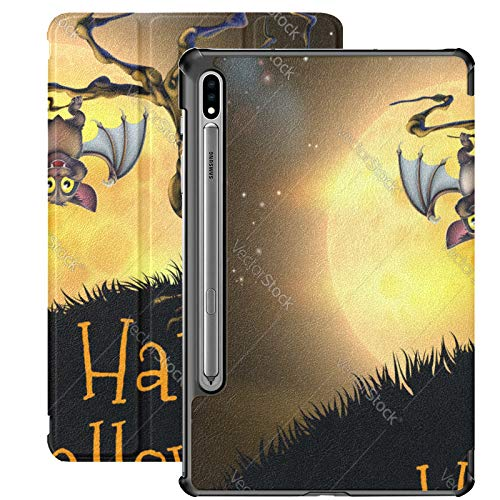 Estuche para Galaxy Tab S7 Estuche Delgado y liviano con Soporte para Tableta Samsung Galaxy Tab S7 de 11 Pulgadas Sm-t870 Sm-t875 Sm-t878 2020 Release, Naranja Halloween Vampire Bat Background