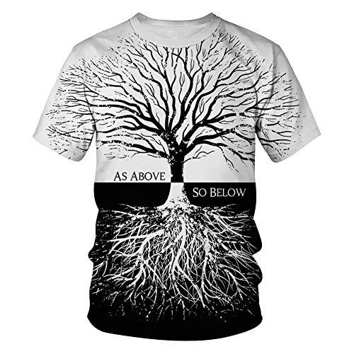 feeilty Fasion Heren T-Shirt, Mannen Vrouwen Zwarte Witte Boom 3D Print Tee Korte mouw Hipster Casual Zomer Tops