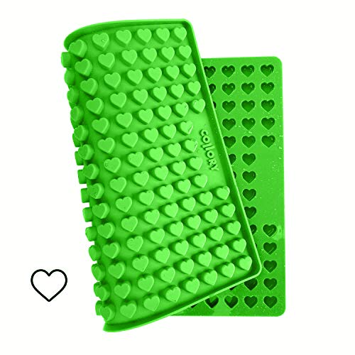 Collory Mini Herz (1,5cm) Silikon Backmatte, Backform für Mini DIY H&ekekse & Leckerlis, Herzenbackform, Pralinenform, Schokoladenform, Antihaftend & Lebensmittelecht (BPA-Frei)