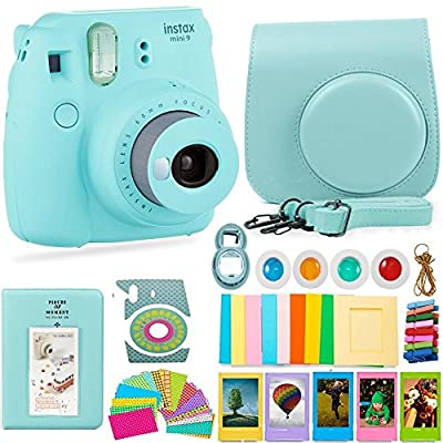 FujiFilm Instax Mini 9 Camera and Accessories Bundle - Instant Camera, Carrying Case, Color Filters, Photo Album, Stickers, Selfie Lens + More from Deals Number One