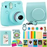 FujiFilm Instax Mini 9 Camera and DNO Accessories Bundle - Carrying Case, Color Filters, Photo Album, Stickers, Selfie Lens + More (Ice Blue)