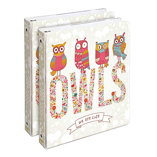 COMIX 2 Pack Letter Size Three Ring Binders, Heavy Duty Premium Designer 3 Round Ring Binder 1 Inch, (A2134) Back to School/Campus (Staring Owls)