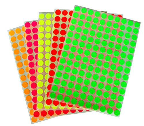 """Neon Color Coding Labels 3/8"""" (0.375) inch 10 mm Round Dot Stickers - 5 Different Fluorescent Colors Dots Label – Three Eights inch Rounds Sticker 1400 Pack"""