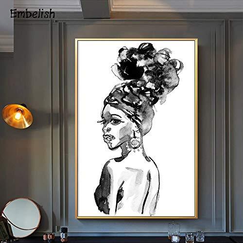 sanzangtang Leinwand Malerei Afrikanische Frau Wandkunst Bilder Wohnzimmer Schlafzimmer Wohnkultur,80x120cm,Rahmenlose Malerei