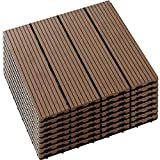 "8 Pack Interlocking Patio Deck Tiles 12""x 12"" Wood Plastic Composites Flooring Tiles, 4-Slats Straight Pattern Hardwood Flooring Deck for Patio, Balcony, Porch, Backyard"