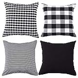 Fasyou Set di 4 federe Decorative per cuscino a Quadri in Cotone a Righe in Tinta Unita, per divano e Camera da letto, 45 x 45 cm, Colore: Nero e Bianco