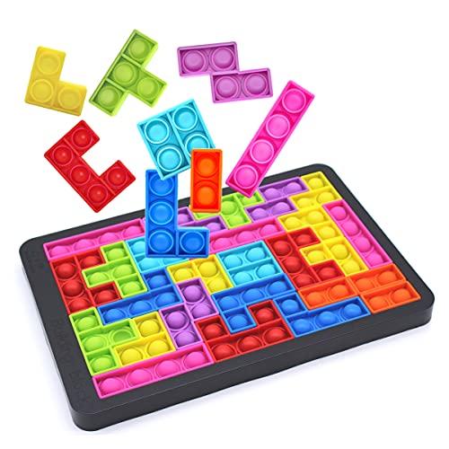 RESTER Push it Pop Puzzle Brain Teasers Toy,Push Pop Bubble Sensory Fidget Toy,27pcs Silicone Jigsaw...