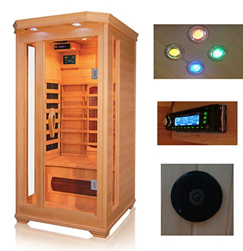 XXL Luxus LED Infrarotsauna Infrarotkabine Wärmekabine Sauna +Radio USB MP3