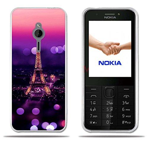 FUBAODA für Nokia 230 Hülle, [Tower Night] Transparent Silicon Clear TPU Slim Fit Shockproof Flexible 3D zeitgenössischen Chic Design Ultra Thin Lightest Easy Grip Durable Flex für Nokia 230