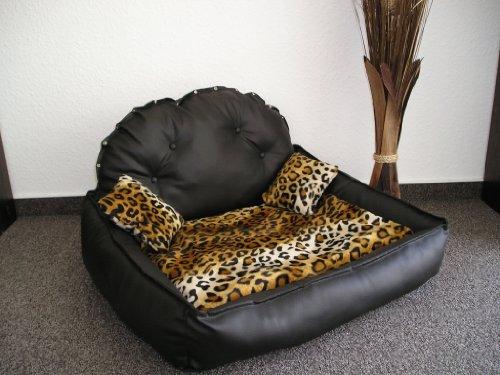 Premium Line Prestige Lounge Canapé pour chien Noir/motif léopard