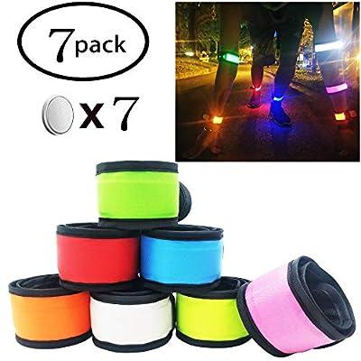 Pack of 7 LED Light Up Armband Reflective Gear Lights Slap Bracelets for Women Men Kids Night Running Dog Walking Safety(7 Pack - Colorful)