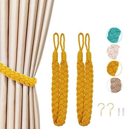 CHICTIE Braided Curtain Tiebacks Rope Cotton Curtain Ties with Hooks Metal Curtain Tieback Drapery Holdbacks for Window Curtain Accessories (Yellow)