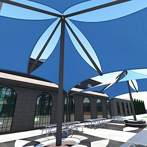 TANG Sunshades Depot A Ring Design Steel Cable Wire Reinforcement Sun Shade Sails 18' x 22 ' Rectangle Blue Heavy Duty Permeable 260 GSM