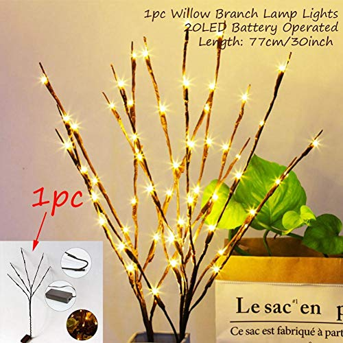 WSJKHY Kerstlichtsnoer, kerstversiering, kerstcadeau, goede glijbaan, nieuw jaar 20 LED Willow Branch
