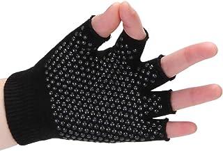 Womens Gym Body Building Training Sports No-Slip Yoga Pilates Gloves Workout New Cotton Dispensed Non-Slip Yoga Gloves Half Finger Fingerless Yoga Gloves Wear-Resistant Sports Gloves Black