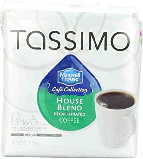 Tassimo MAXWELL HOUSE Cafe Collection, House Blend Coffee, Decaf, Medium, 16-Count T-Discs, (Pack of 3)