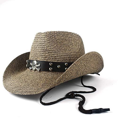 SSHZJUS Hueca Occidental del Sombrero de Vaquero Nuevo papá Playa Sombrero de Paja Hombre de Paja del Vaquero Panamá Jazz Casquillo de Sun Gentleman (Color : Café, Size : 56-58)