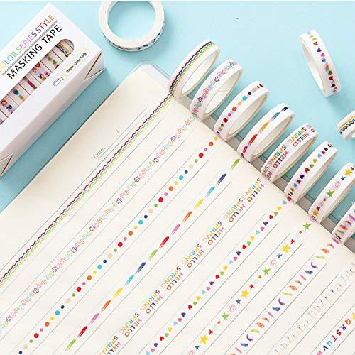 OeyeO 10 Rollen Washi Tape Set Masking Tape Rainbow Beschriftungsband für Spaß für Kunst DIY Klebeband