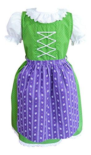 Schrammel Kinderdirndl Baumwolle mit Bluse Blumendruck (98-104, Grün-Lila)