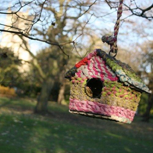 Vogelhaus recycelte Baumwolle bunt und witzig Fair Trade
