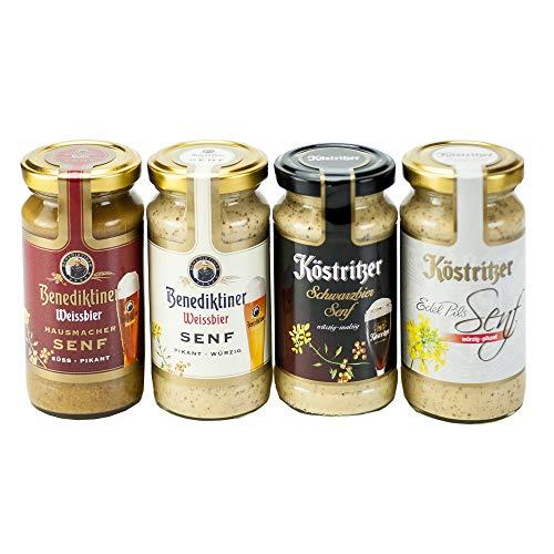 Altenburger Original 4 Biersenf-Sorten (je 200 ml), Schwarzbiersenf, Edel-Pils-Senf und Weißbier-Senfe im Set