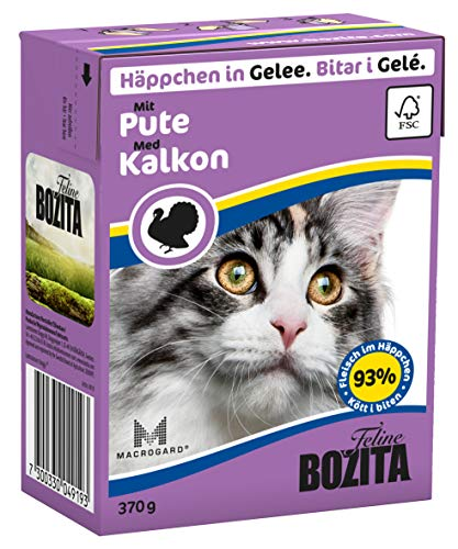 Bozita Häppchen in Gelee Nassfutter mit Pute im Tetra Recart 16x370g - Getreidefrei - nachhaltig produziertes Katzenfutter für erwachsene Katzen - Alleinfuttermittel