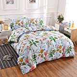 YMY Lightweight Microfiber Bedding Duvet Cover Set with Zipper Closure, Multicolored Floral Pattern Comforter Cover Set (Blue, Queen)