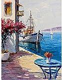 Pintura Kits de pintura Set de pintor Beach Flower Code 16 * 20 Pulgadas Pintura por Números con Pinceles -Sin marco